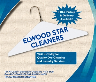 Free Pickup & delivery available, Elwood Star Cleaners, Owatonna, MN