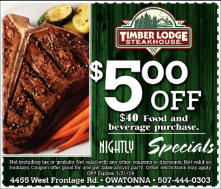 $5.00 off -  $40 food and beverage purchase