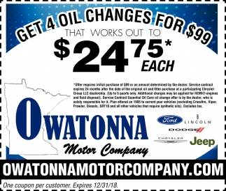 Get 4 oil changes for $99