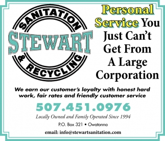Personal Service - You just can't get from a large corporation, Stewart Sanitation, Owatonna, MN