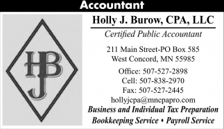 Certified Public Accountant, Holly J. Burow, CPA, LLC, West Concord, MN