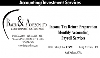 Accounting / Investment Services, Baker & Axelson, Wanamingo, MN