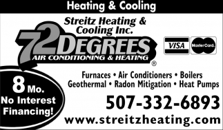 72 Degrees Air Conditioning and Heating, Streitz Heating & Cooling, Dundas, MN