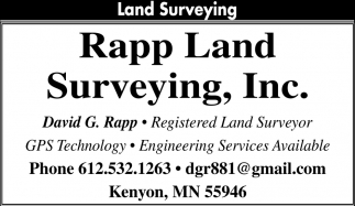 Land Surveying, Rapp Land Surveying, Inc, Kenyon, MN