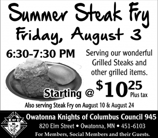 Summer Steak Fry August 3