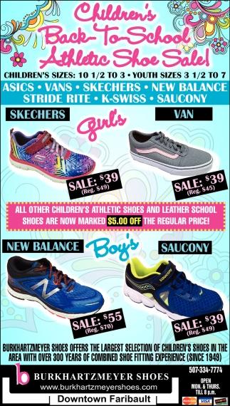 Children's Back to School Athletic Shoe Sales!