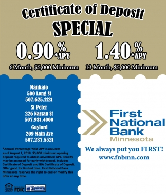 Certificate Of Deposite Special 090 140 First National Bank