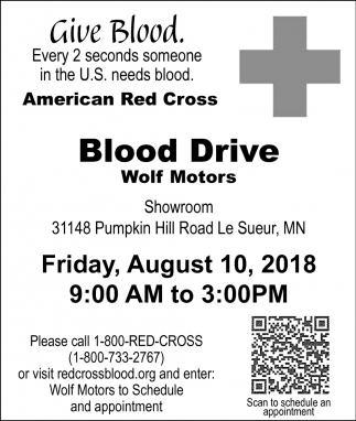 Give Blood Every 2 Seconds Someone In The US Needs Wolf Motors Jordan MN