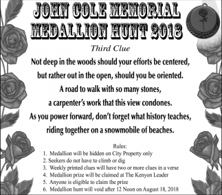 John Cole Memorial Medallion Hunt 2018, John Cole, Kenyon, MN