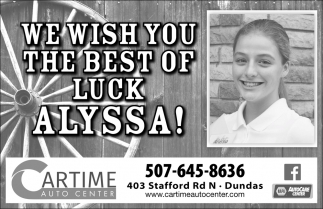 We wish you the best of luck Alyssa!