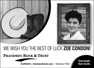 We wish you the best lucky Zoe Condon!