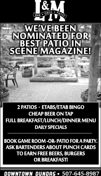 We've been nominated for best patio in scene magazine!