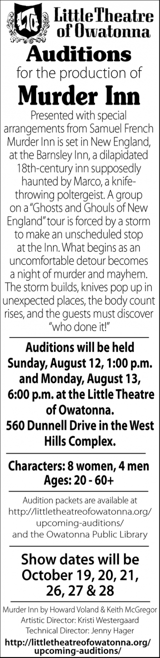 Auditions for the production of Murder Inn