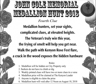 John Cole Memorial, Kenyon Rose Fest, Kenyon, MN