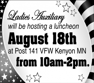 Ladies Auxiliary will be hosting a luncheon