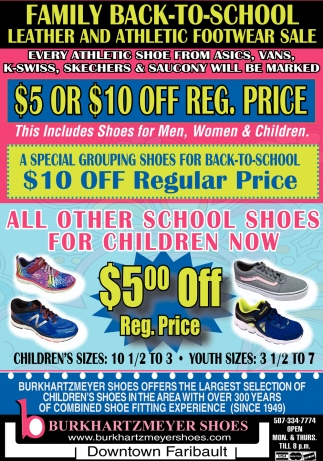 Back to School Leather and Athletic Footwear Sale
