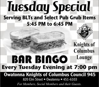 Tuesday Special - Bar Bingo at 7:00 pm