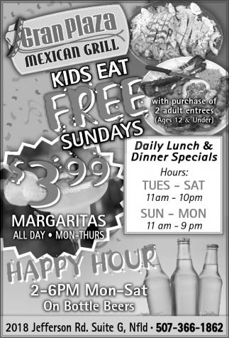 KIDS EAT FREE SUNDAYS