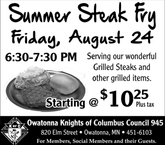 Summer Steak Fry August 24