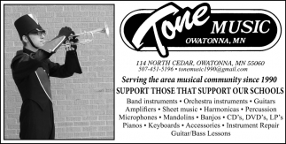 Serving the area musical support our schools, Tone Music, Owatonna, MN