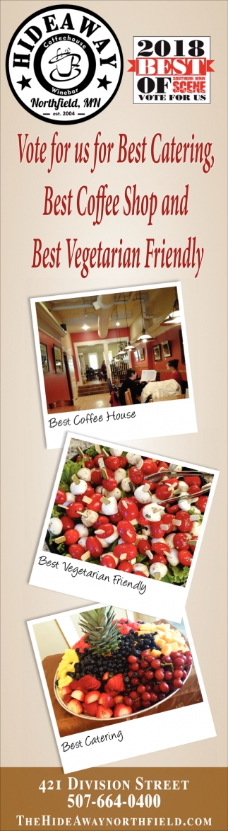 Vote for us for Best Catering, Best Coffee Shop and Best Vegetarian Friendly