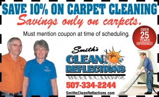 Save 10% on carpet cleaning, Smith's Clean Reflections, Faribault, MN