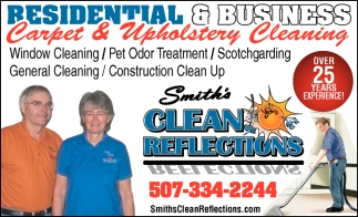Residential & Business Carpet & Upholstery Cleaning, Smith's Clean Reflections, Faribault, MN