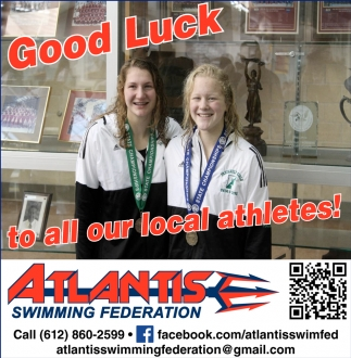 Good Luck to all our local athletes!, Atlantis Swimming Federation, Albert Lea, MN