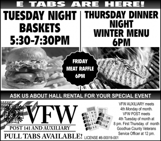 Tuesday Night Baskets - Thursday Dinner Night Winter Menu