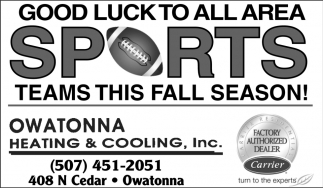 Good Luck to all Area Sports Teams this Fall Season
