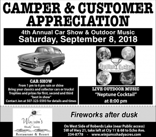 4th Annual Car Show & Outdoor Music, September 8