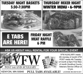 Tuesday Night Baskets - Thursday Mixer Night Winter Menu