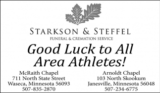Good Luck to All Area Ahtletes!, Starkson & Steffel Funeral & Cremation Services, Waseca, MN