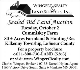 Sealed Bid Land Auction, October 2
