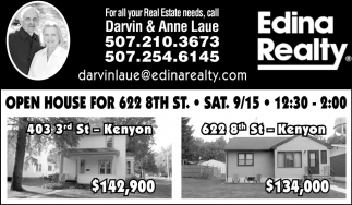 Open House 622 8th Sat 9/15, Edina Realty: Darvin & Anne Laue, Northfield, MN