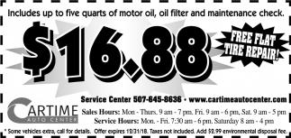 $16.88 Free flat tire repair!