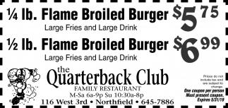 1/4 lb. Flame Broiled Burger $5.75