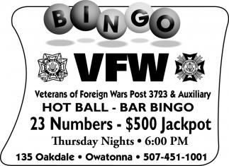 BINGO 23 Numbers - $500 Jackpot