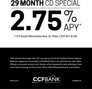 29 Month CD Special 2.75% APY*