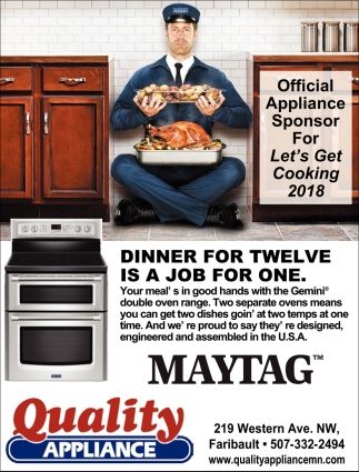 Dinner for twelve is a job for one, Quality Appliance, Northfield, MN