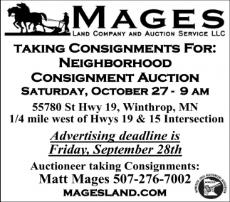 Consignment Auction, October 27