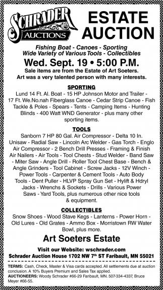 Estate Auction Sep. 19