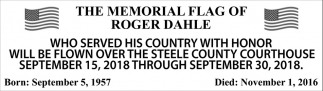 Memorial Flag of Roger Dahle, Steele County Courthouse, Owatonna, MN