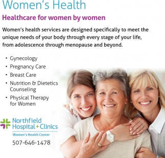 Healthcare for women by women, Northfield Hospital & Clinics, Northfield, MN