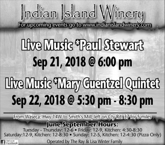 Paul Stewart  Sep 21 - Mary Guentzel Quintet Sep 22