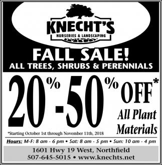Fall Sale! All Trees, Shrubs & Perennials