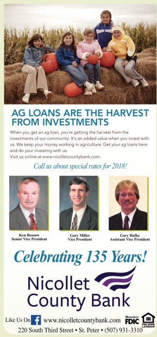 Ag loans are the harvest from investments