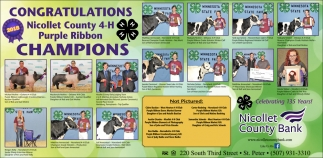 Congratulations Nicollet 4-H Purple Ribbon Champions