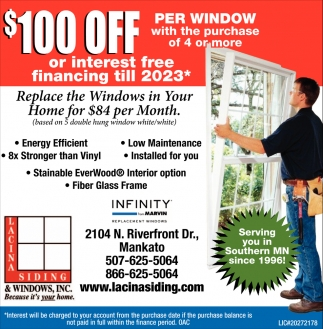 Replace the Windows in Your Home for $84 per Month