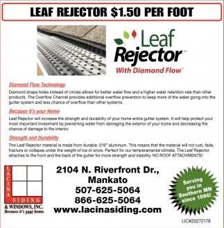 Leaf Rejector $1.50 per Foot